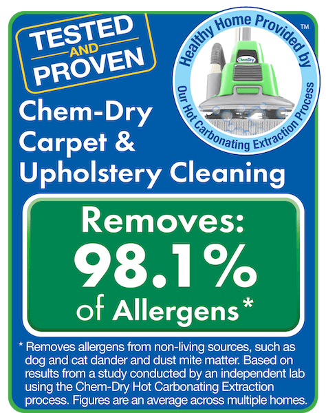 Chem-Dry removes 98% of allergens from carpets and upholstery and 89% of airborne bacteria, improving indoor air quality