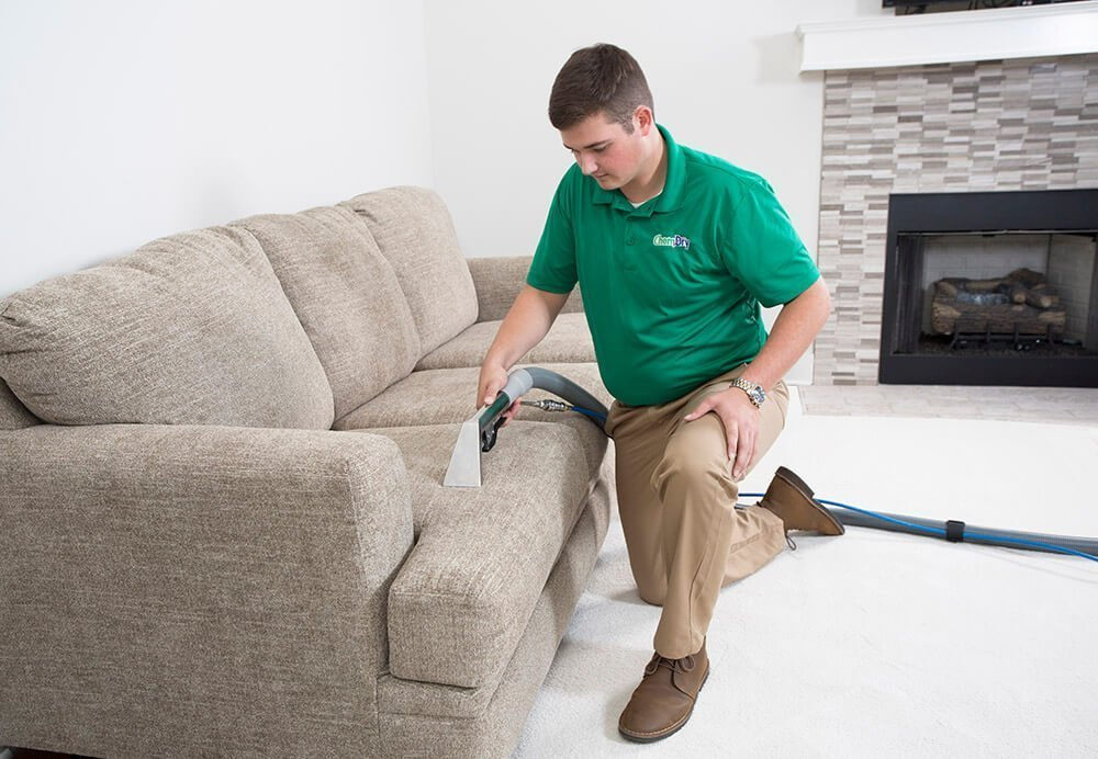 Temecula Valley Chem-Dry employee cleaning upholstery in temecula valley, CA